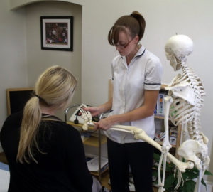 Nicola Hodgson practicing physiotherapy